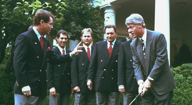 It's been more than 20 years since President Bill Clinton hosted Tom Watson (from left), Chip Beck, John Cook and Raymond Floyd as the 1993 Ryder Cup team visited the White House before its victory at The Belfry in England.