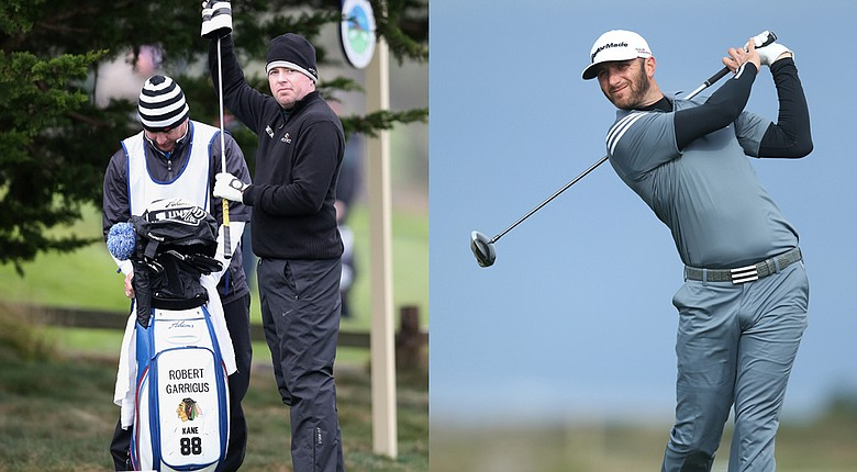 Robert Garrigus, with his Chicago Blackhawks bag, and Dustin Johnson enjoyed their weeks at the PGA Tour's 2014 AT&T Pebble Beach National Pro-Am.