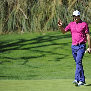Justin Rose during the first round of the PGA Tour's 2014 Northern Trust Open at Riviera near Los Angeles.
