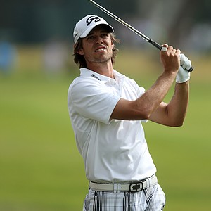 Aaron Baddeley watches his shot from the fairway in the third round of the Northern Trust Open.