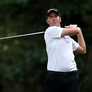 Webb Simpson hits a tee shot on the 12th hole in the third round of the Northern Trust Open in Pacific Palisades, Calif.