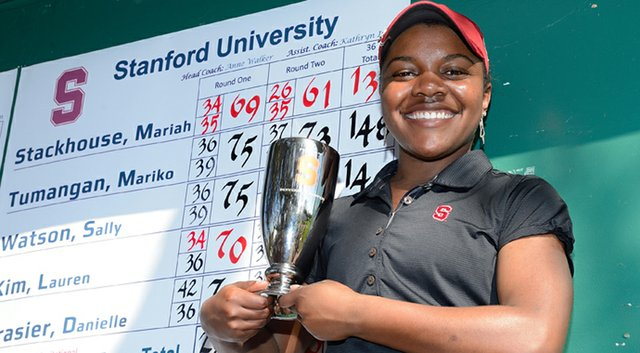 Stanford's Mariah Stackhouse, shown with last year's medalist trophy, helped the Cardinal win the Peg Barnard Invitational for the second straight year.