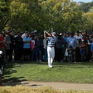 Bubba Watson hits from the rough at the par-5 second hole at Riviera during Sunday's final round of the PGA Tour's 2014 Northern Trust Open near Los Angeles.