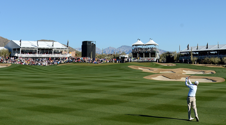 Steve Stricker plays the 13th hole at Dove Mountain during the 2013 WGC Match Play.