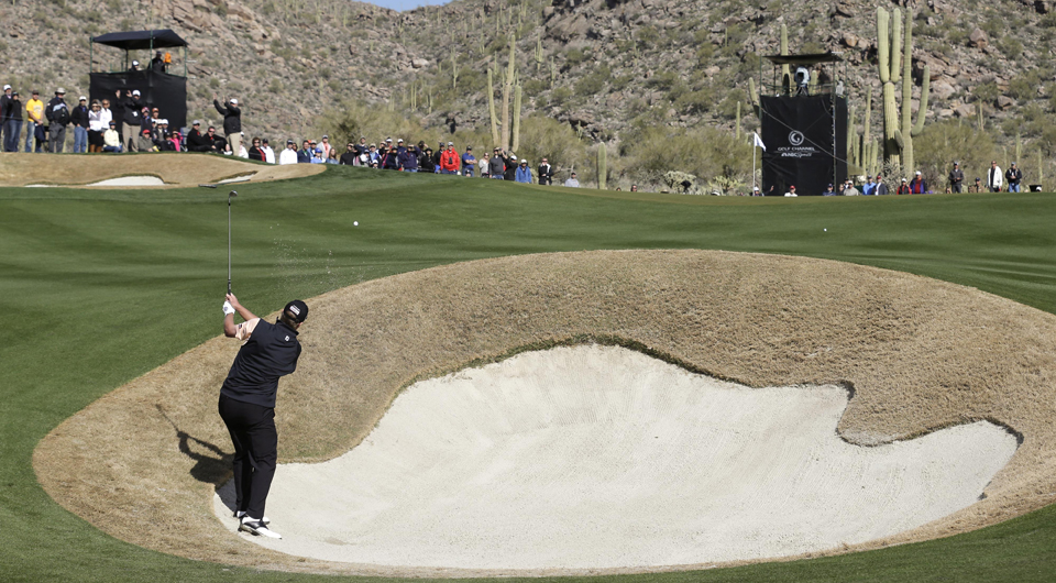 Steve Stricker plays the 15th hole at Dove Mountain during the 2013 WGC Match Play.