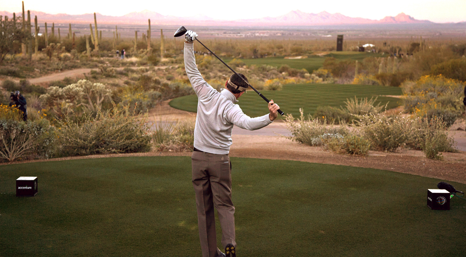 Mark Wilson plays the first hole at Dove Mountain during the 2012 WGC Match Play.