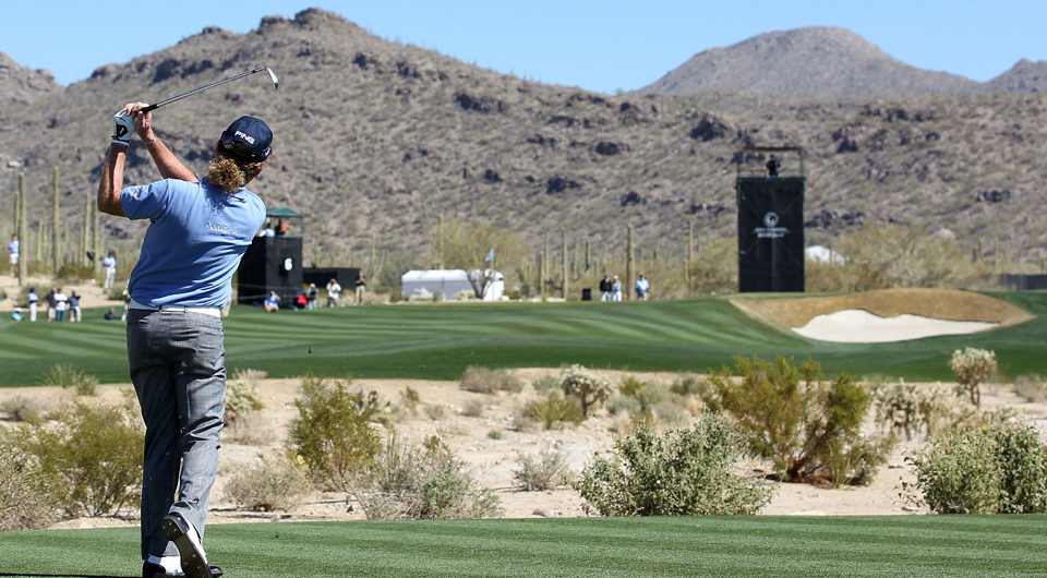 Miguel Angel Jimenez plays the sixth hole at Dove Mountain during the 2011 WGC Match Play.