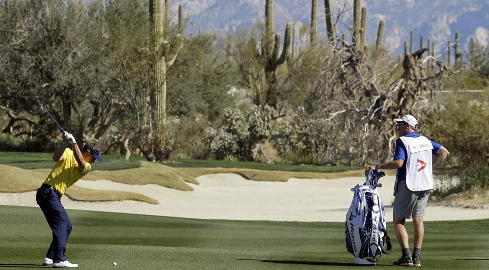 Luke Donald plays the eighth hole at Dove Mountain during the 2012 WGC Match Play.