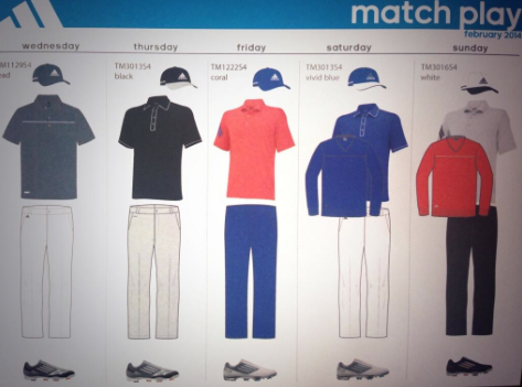 Sergio Garcia's outfits for the WGC-Match Play Championship.