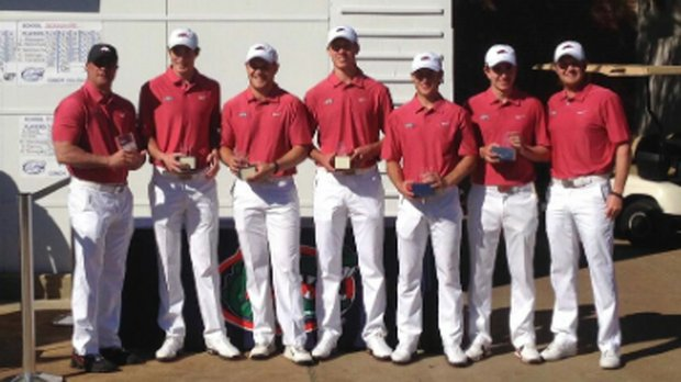 The Arkansas Razorbacks after their win at the Gator Invitational on Feb. 16, 2014.