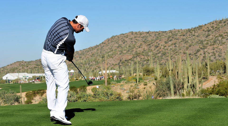 Paul Casey plays his tee shot on the 10th hole.