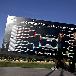 The bracket during Tuesday practice for the PGA Tour's 2014 WGC-Accenture Match Play at Dove Mountain in Marana, Ariz.