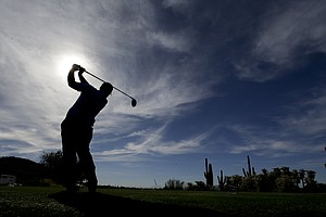 Patrick Reed during Tuesday practice for the PGA Tour's 2014 WGC-Accenture Match Play at Dove Mountain in Marana, Ariz.