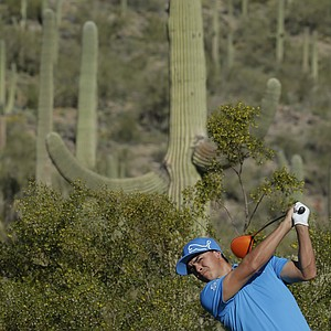 Rickie Fowler during Tuesday practice for the PGA Tour's 2014 WGC-Accenture Match Play at Dove Mountain in Marana, Ariz.