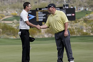 Charl Schwartzel and Kevin Stadler at the WGC Match Play 2014