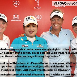 Suzann Pettersen, Stacy Lewis, Inbee Park, and Lydia Ko at the Honda LPGA Thailand tournament.