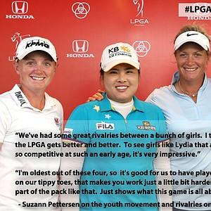Suzann Pettersen, Stacy Lewis, Inbee Park, and Lydia Ko at the Honda LPGA Thailand tournament.