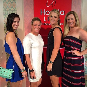 Brittany Lincicome, Sandra Gal, Suzann Pettersen, and Anna Nordqvist at the pro am party for the Honda LPGA Thailand tournament.