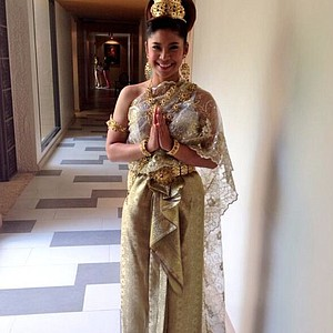 Pornanong Phatlum in her traditional Thai ensemble at the Honda LPGA Thailand tournament