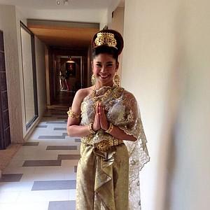 Pornanong Phatlum in her traditional Thai ensemble at the Honda LPGA Thailand tournament