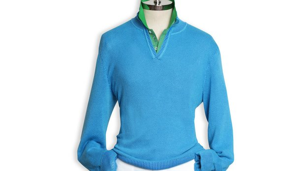 Bobby Jones' Open Placket Mock Neck is a layering piece in the spring 2014 collection.