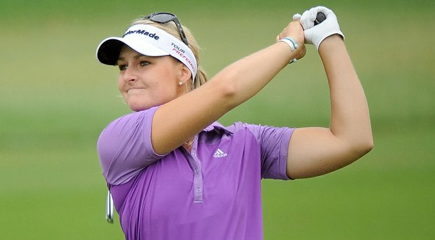 Anna Nordqvist plays her shot during the second round of the Honda LPGA at Siam Country Club, Pattaya in Chonburi, Thailand.