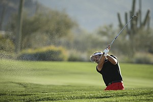 Victor Dubuisson during Sunday's semifinals of the 2014 WGC-Accenture Match Play at Dove Mountain in Marana, Ariz.