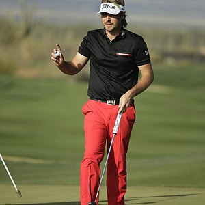 Victor Dubuisson during his semifinal match Sunday at the 2014 WGC-Accenture Match Play at Dove Mountain in Marana, Ariz.