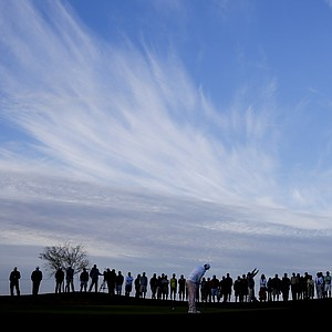 Fans line up early for the semifinal matches in the 2014 WGC-Accenture Match Play at Dove Mountain in Marana, Ariz.