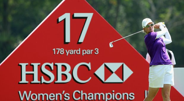 Karrie Webb hits her tee shot on the 17th hole during the first round of the HSBC Women's Champions.