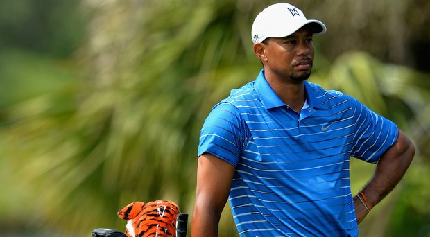 Tiger Woods looks on during the first round of The Honda Classic at PGA National. Woods shot a 1-over 71.