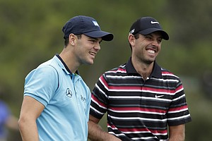 Martin Kaymer, left, and Charl Schwartzel during Thursday's first round of the PGA Tour's Honda Classic at PGA National in Palm Beach Gardens, Fla.