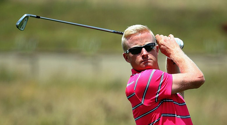 Simon Dyson tees off on the third hole during the first round of the Tshwane Open at Copperleaf Golf & Country Estate.