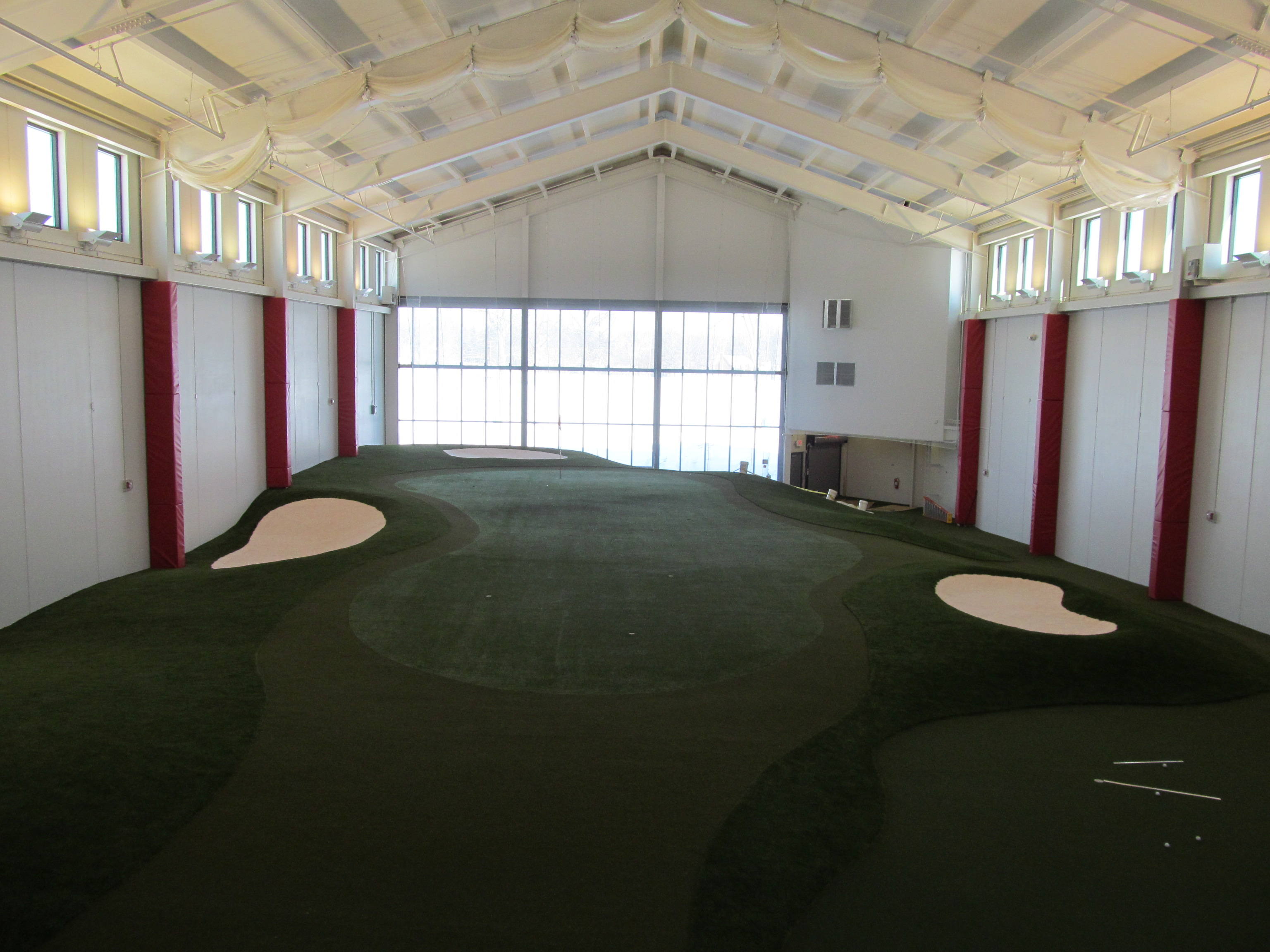 Ohio State's indoor practice facility features a 50-yard hole with three bunkers.