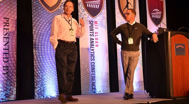 Mark Broadie and Sean Foley giving a lecture during the MIT Sloan Sports Analytics Conference in Boston.