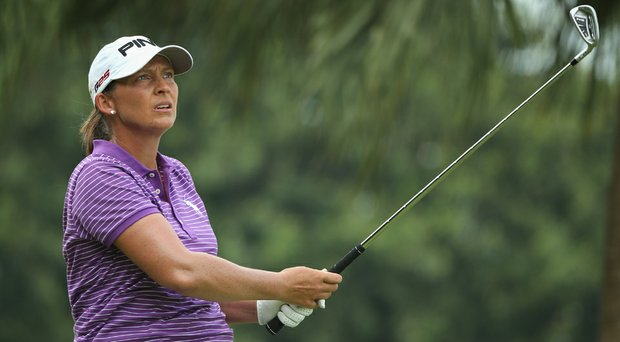 Angela Stanford hits her tee shot on the second hole during the third round of the HSBC Women's Champions at the Sentosa Golf Club.