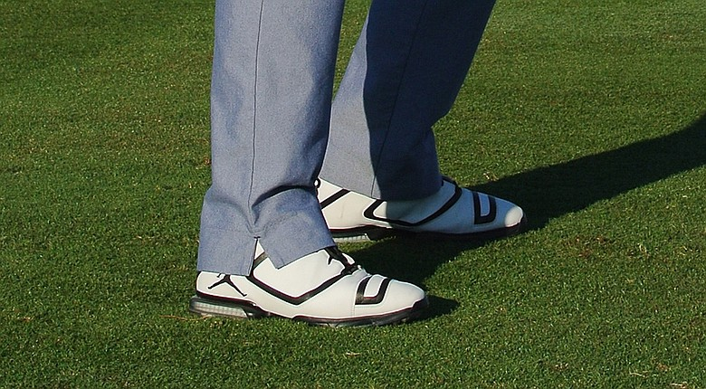 Keegan Bradley wore white Air Jordan's during the 2014 Honda Classic.