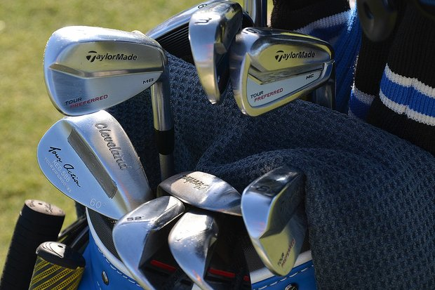 Justin Rose is using a split set of TaylorMade Tour Preferred MC and Tour Preferred Muscleback irons. He also had two Cleveland 60-degree wedges in his bag Tuesday morning.