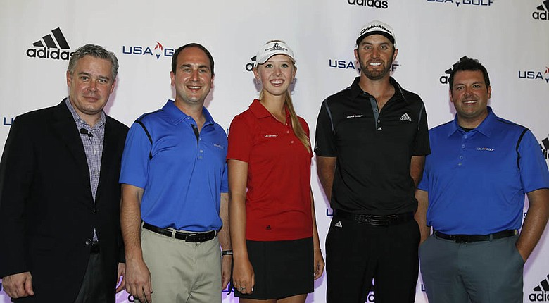 Andy Levinson (Executive Director, USA GOLF Federation), Jessica Korda, Dustin Johnson, Davide Mattucci (Director of Global Product Marketing, adidas Golf) were on hand for the announcement from adidas Golf.