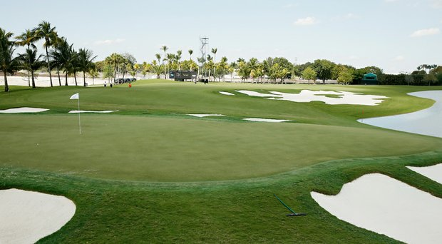 A view of the redesigned 16th hole at Trump National Doral before the WGC-Cadillac Championship.