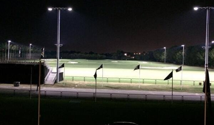 Rory McIlroy tweeted this photo from his hotel room, looking out at the new, lit range at Trump National Doral.