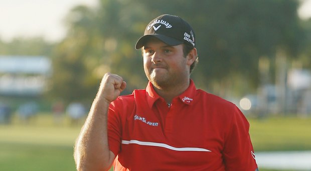 Patrick Reed celebrates his win at Doral in the 2014 WGC-Cadillac Championship, his third PGA Tour win in less than a year.
