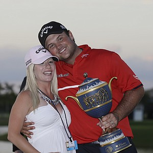Patrick Reed celebrates his win at Doral in the 2014 WGC-Cadillac Championship, his third on PGA Tour.