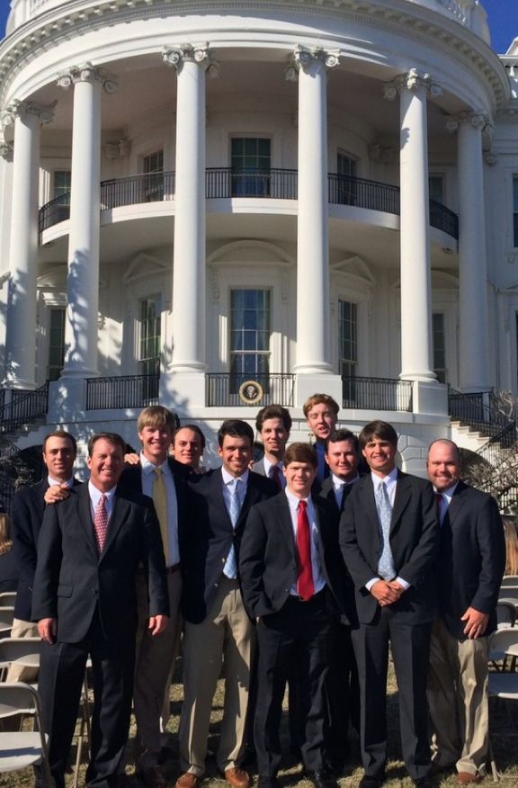The Alabama men's golf team celebrated its national championship with President Barack Obama at the White House on Monday.
