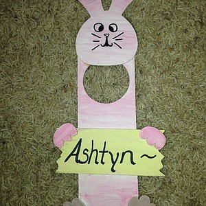 Ashtyn Brown made this bunny in a playroom at Riley when she was a cancer inpatient. It is still hung on her room door.