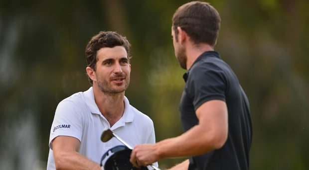 Alejandro Canizares shakes hands with his playing partner after the third round of the Trophee Hassan II.