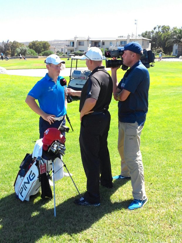 Brad Dalke does an interview with the South African media at the Curro South Africa International Junior.