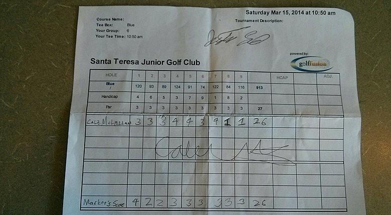 Cale McLellen's scorecard from the Santa Teresa Junior Golf Club event on March 15.
