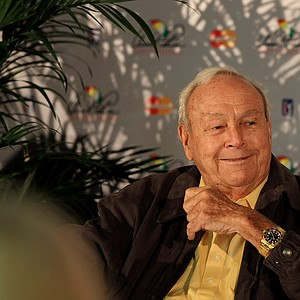 Arnold Palmer talks with the media during the Arnold Palmer Invitational on Wednesday at Bay Hill Lodge and Club.