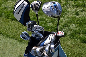 Stewart Cink is playing TaylorMade's SLDR driver and Ping's i20 irons, but he also has a TaylorMade RocketBladez Tour 3-iron in his bag.
